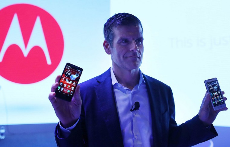 Dennis Woodside, chief executive officer of Motorola Mobility, introduces three new smartphones under its Razr brand that will become available for Verizon customers on September 5, 2012 in New York C