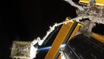 In the grasp of the International Space Station's robotic Canadarm2, the S6 truss segment was photographed by a STS-119 crew member while Discovery was docked with the station March 18, 2009 in Space.