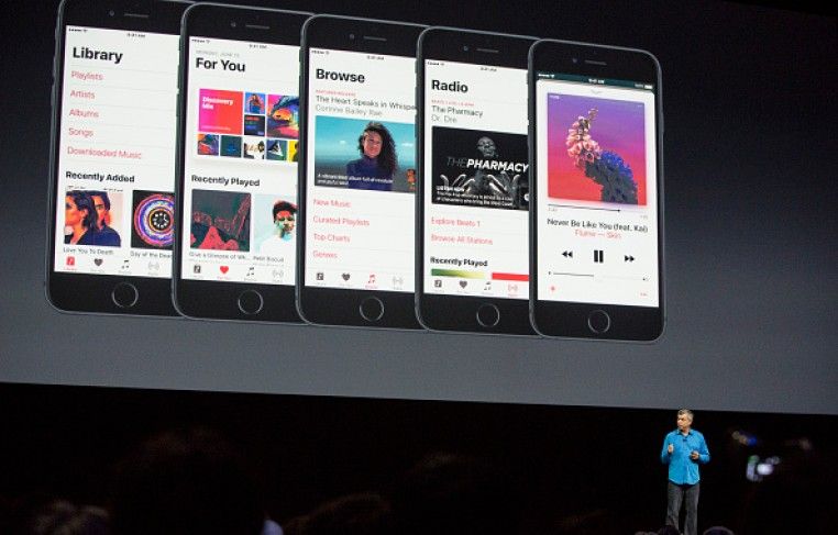 Eddy Cue, Apple senior vice president of internet software and services, helps introduce the new iOS software at Apple event, Worldwide Developer's Conference on June 13, 2016 in San Francisco,CA